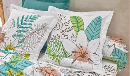 Parure linge de lit blanc imprimé fleurs coton Oeko-Tex® Colombine® pas cher - Blancheporte