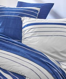 Parure linge de lit bleu à rayures blanc coton Oeko-Tex® pas cher - Blancheporte