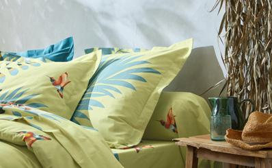 Parure linge de lit vert motifs feuilles tropicales coton Oeko-Tex® Colombine® pas cher - Blancheporte