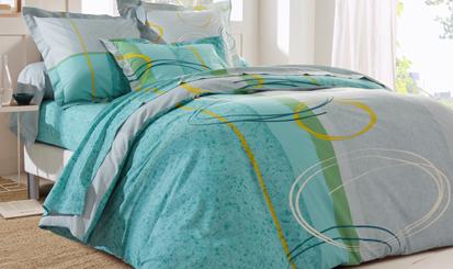 Parure linge de lit vert imprimé moderne coton Oeko-Tex® Colombine® pas cher - Blancheporte