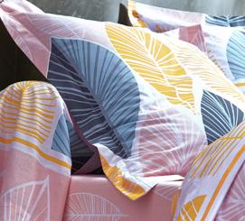 Parure linge de lit rose motif feuilles coton Oeko-Tex® Colombine® pas cher - Blancheporte