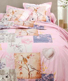 Parure linge de lit rose imprimé oiseaux coton Oeko-Tex® Colombine® pas cher - Blancheporte