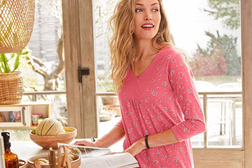 Tunique rose imprimé fleuri manches 3/4 coton pas cher Colors & Co® - Blancheporte