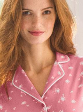 Pyjama rose imprimé coton col tailleur manches longues pas cher - Blancheporte