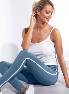 Legging bleu rayé blanc taille élastique coton pas cher - Blancheporte