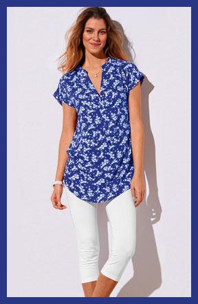 Tunique bleue imprimé fleurs manches courtes pas cher Colors & Co® - Blancheporte
