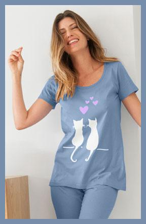 Tee-shirt et pantacourt de pyjama bleu imprimé chats taille élastique coton pas cher - Blancheporte