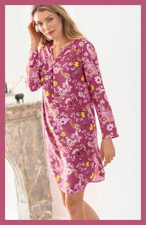 Chemise de nuit liquette rose imprimée fleurs manches longues col V pas cher - Blancheporte