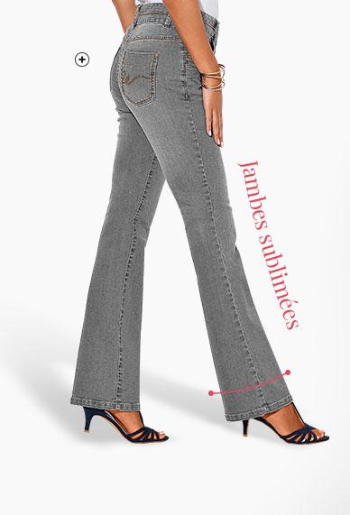 Jean femme gris bootcut stretch délavé Colors & Co® pas cher - Blancheporte