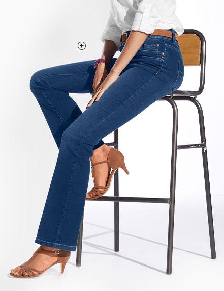 Jean femme bleu bootcut stretch délavé Colors & Co® pas cher - Blancheporte