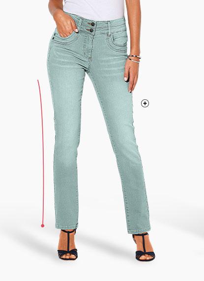Jean femme bleu clair droit stretch délavé Colors & Co® pas cher - Blancheporte