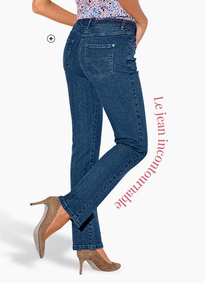 Jean femme bleu droit moyenne stature stretch Colors & Co® pas cher - Blancheporte