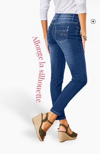 Jean femme bleu 7/8ème fuselé stretch Colors & Co® pas cher - Blancheporte