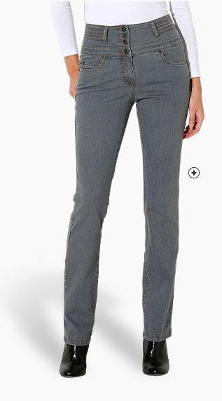 Jean femme gris droit taille haute pas cher - Blancheporte