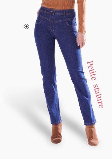 Jean femme droit bleu pour petite taille Colors & Co® pas cher - Blancheporte
