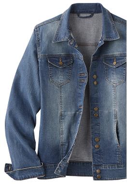 Veste en jean bleu délave manches longues col chemise ISABELLA®  - pas cher - Blancheporte