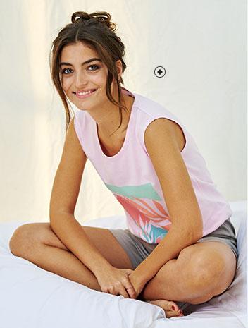 Pyjashort rose vert kaki imprimé col rond manches courtes éco-responsable coton bio Oeko-Tex® pas cher - Blancheporte