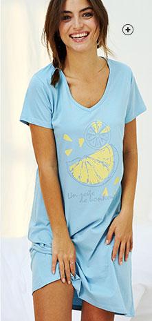 Chemise de nuit bleue courte imprimée col V manches courtes éco-responsable coton bio Oeko-Tex® pas cher - Blancheporte