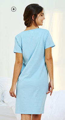 Tee-shirt pyjama rose imprimé col rond manches courtes éco-responsable coton bio Oeko-Tex® pas cher - Blancheporte