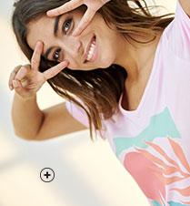 Chemise de nuit rose imprimée col V manches courtes éco-responsable coton bio Oeko-Tex® pas cher - Blancheporte