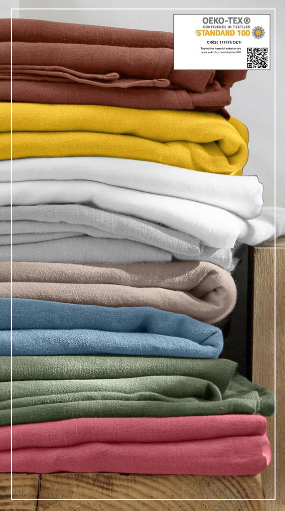 Parure linge de lit unie lin lavé  Oeko-Tex® Colombine® pas cher - Blancheporte