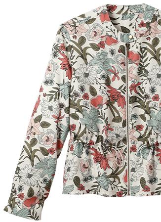 Veste bleu et rose saharienne imprimée feuilles manches longues col rond - pas cher - Blancheporte