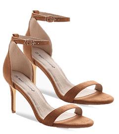 Sandales marrons ouvertes à talons fin avec bride - pas cher - Blancheporte