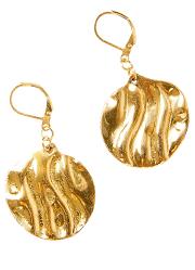 Boucles d'oreillesdoré en métal martelé - pas cher- Blancheporte
