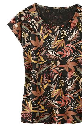 Tee-shirt noir manches courtes imprimé tropical col rond - pas cher - Blancheporte