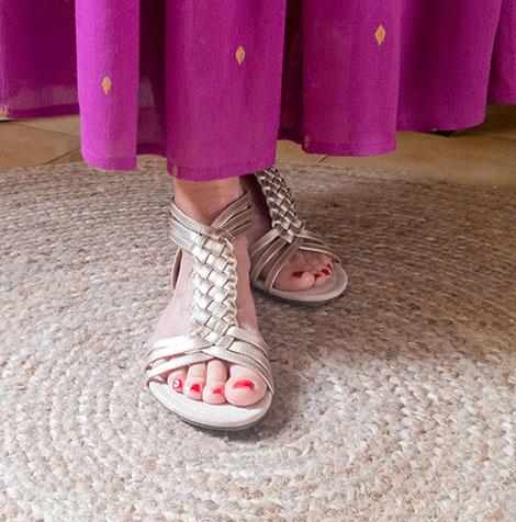 Sandales plates tressées - doré - pas cher - Blancheporte