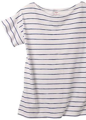 Tee-shirt blanc et bleu marinère fluide manches courtes Sodéco - pas cher - Blancheporte