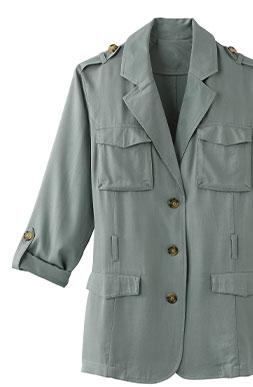 Veste bleue saharienne col tailleur manches longues boutonnées avec ceinture COLORS & CO® - pas cher - Blancheporte