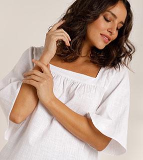 Blouse blanche ample unie col carré manches coudes en coton - pas cher - Blancheporte