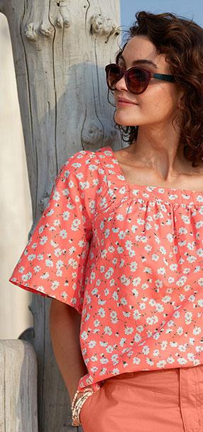 Blouse orange ample fleurie col carré manches courtes en coton - pas cher - Blancheporte