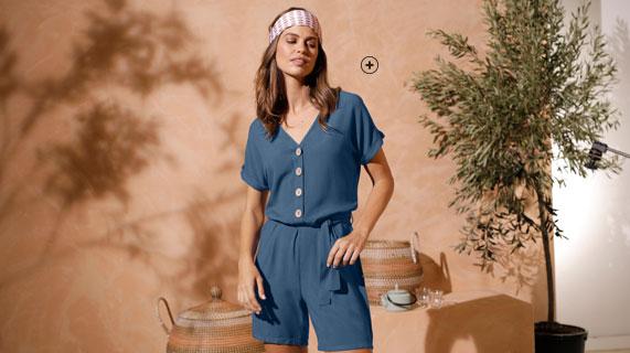 Combishort bleu boutonné uni manches courtes ceinturé  COEUR AU SUD® - pas cher - Blancheporte