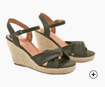 Sandales vert kaki compensées corde - pas cher - Blancheporte