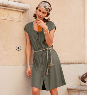 Robe courte verte kaki saharienne souple et fluide manches courtes - pas cher - Blancheporte