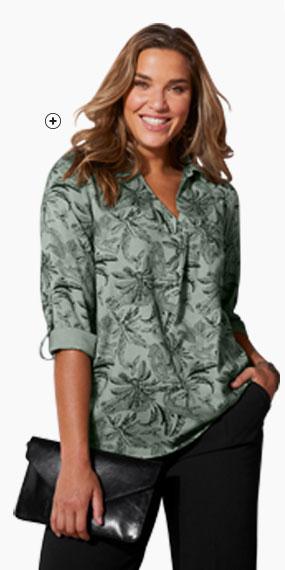 Blouse vert kaki et noir col chemise imprimée savane ISABELLA® - pas cher - Blancheporte
