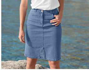 Jupe en jean bleue mi-longue fendue devant, éco-responsable coupe droite avec poches - Oeko-Tex®