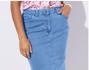Jupe en jean bleue mi-longue amincissante, extensible base droite avec poches - ISABELLA® - pas cher - Blancheporte