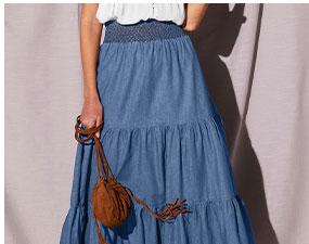 Jupe en jean longue volanté léger ceinture smockée en coton - pas cher - Blancheporte