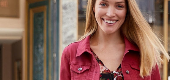 Veste en jean rouge boutonnée plis fantaisie - manches longues - pas cher - Blancheporte