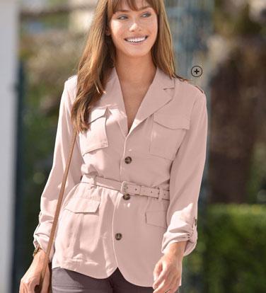 Veste rose saharienne col tailleur avec ceinture COLORS & CO® - pas cher - Blancheporte