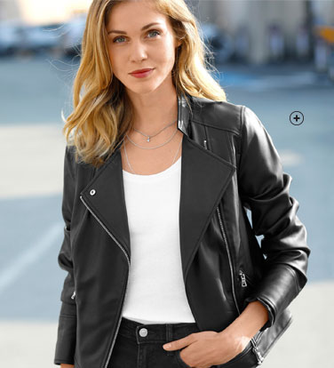Blouson zippé noir aspect cuir coupe perfecto - pas cher - Blancheporte