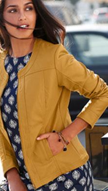 Blouson zippé bleu à col rond aspect cuir - pas cher - Blancheporte
