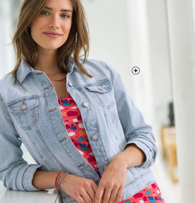 Veste jean blanche bleue avec boutons- COLORS & CO® - pas cher - Blancheporte