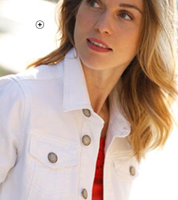 Veste jean blanche délavé avec bouton- COLORS & CO® - pas cher - Blancheporte