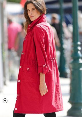 Parka rouge capuche intégrée déperlante manches longues - pas cher - Blancheporte