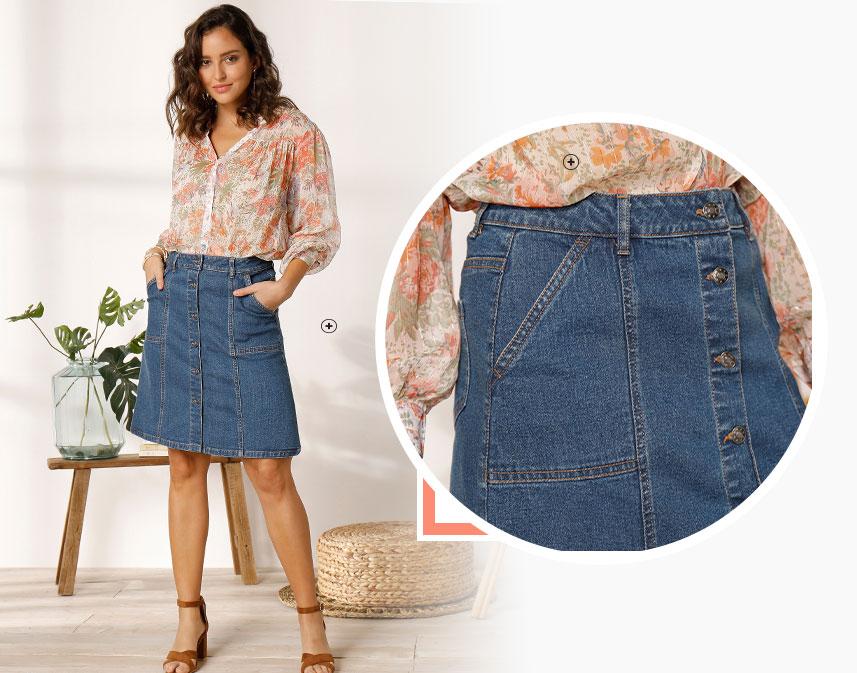 Jupe en jean bleue mi-longue boutonnée coupe droite avec poches - pas cher - Blancheporte