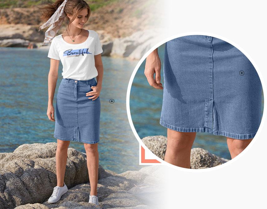 Jupe en jean bleue mi-longue fendue devant, éco-responsable coupe droite avec poches - Oeko-Tex® - pas cher - Blancheporte